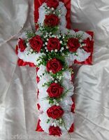 Funeral Flowers Grave Tribute Floral Based Cross With Card - 2ft All Colours