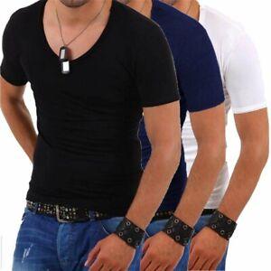 T-shirt-uomo-maniche-corte-aderente-scollo-tondo-ampio-maglietta-discoteca-nuova