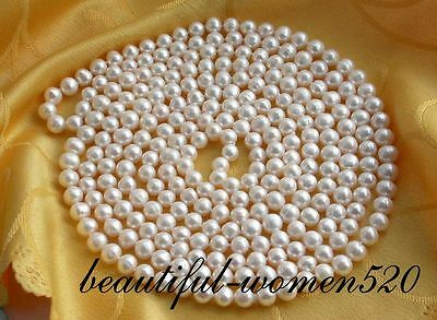 """z2012 beautiful 100"""" 9mm round white freshwater pearl necklace"""
