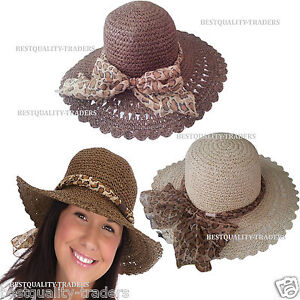Ladies Crushable Straw Hat Summer Sun Beach Foldable Leopard Scarf ... a7a363358d5