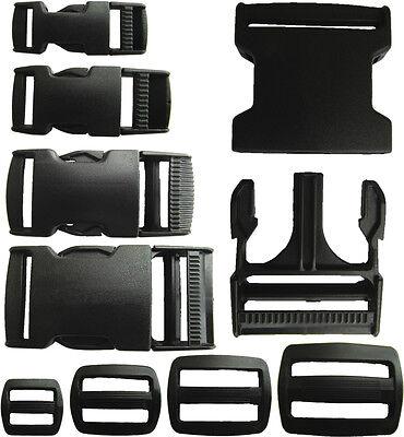 Delrin Plastic Side Release Buckle Clips/Sliders For Webbing 20mm/25mm/40mm/50mm