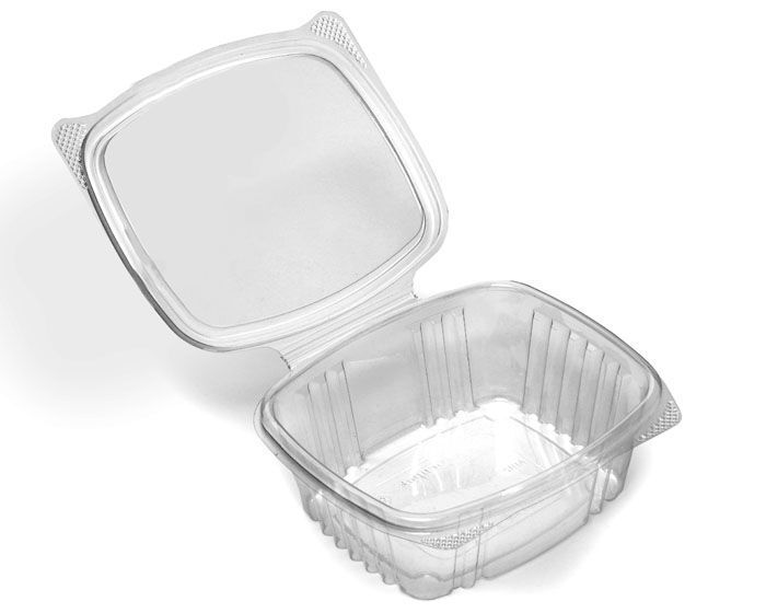 300 x 750cc Clear Plastic Salad Containers with Hinged Lids Leakproof Rectangle