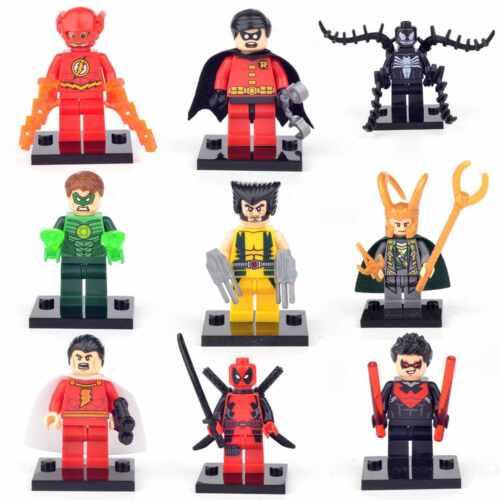 9 Pcs FIT LEGO DC MARVEL SUPER HEROES MINI FIGURES FLASH ROBIN VENOM LOKI TOY UK