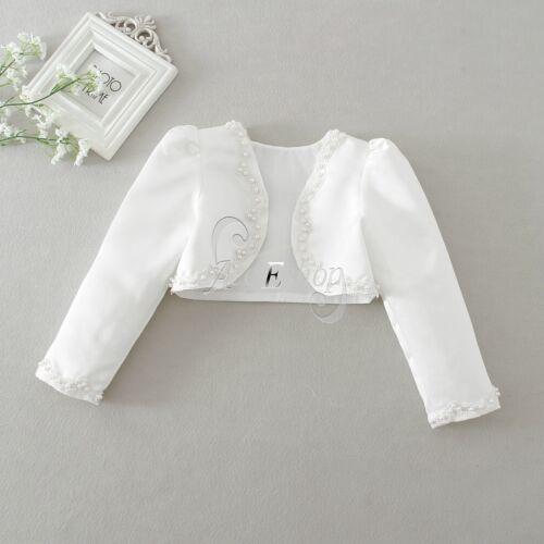 Kids Girl Beaded Bolero Jacket Shrug Short Cardigan Wedding Party Dress Cover Up