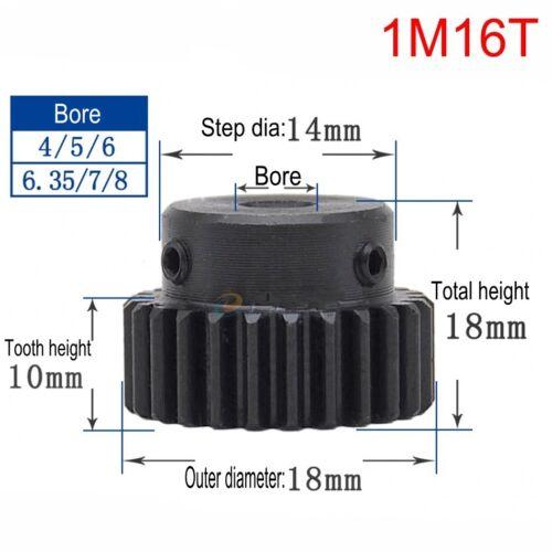 45# Steel Spur Motor Pinion Gear 1Mod 16T Outer Diameter 18mm Bore 8mm x 1Pcs
