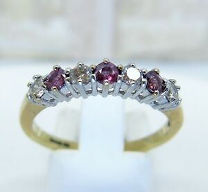 9ct-yellow-gold-ruby-and-diamond-half-eternity-ring-size-O-375