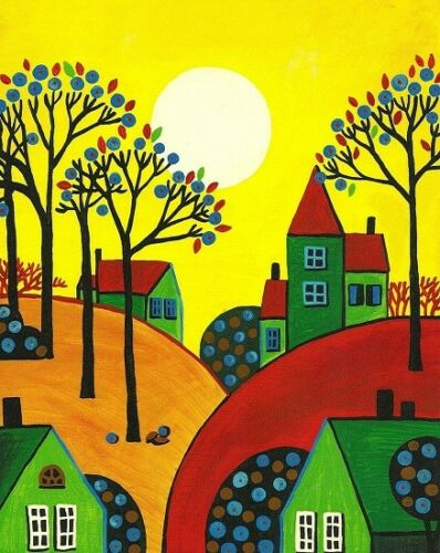 8x10 PRINT OF PAINTING RYTA ABSTRACT FOLK ART HOUSES AUTUMN LANDSCAPE COUNTRY