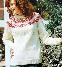 5c26dd164 Fair Isle Yoke Sweater Knitting Pattern Copy To Make Ladies Aran Jumper  34-38