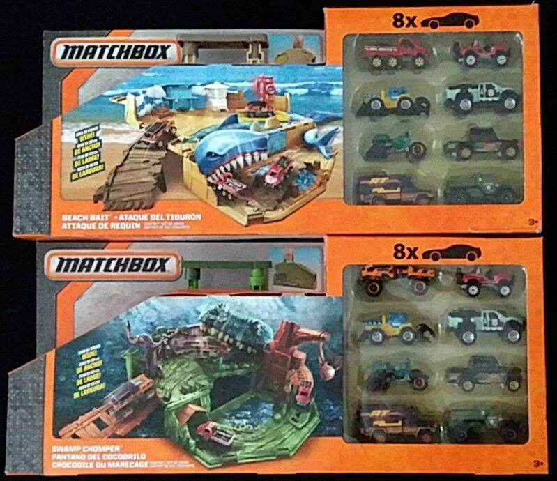Matchbox Foldable Playsets Swamp Chomper and Beach Bait New 16 Cars included