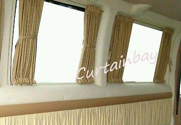 VW T4 conjunto de cortinas caravanas Cortina para 2 ventanas laterales Cortinas Color Negro