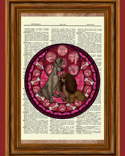 Lady and the Tramp Dictionary Art Print Poster Picture Book Disney Classic