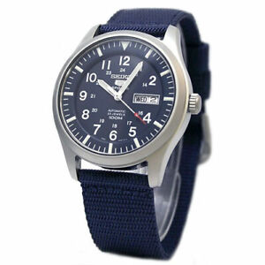 Seiko-5-Sports-Military-100M-Automatic-Men-039-s-Watch-Blue-Nylon-Strap