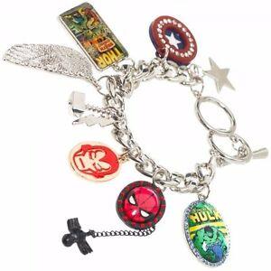 Marvel-Comics-Character-Charm-Bracelet-Licensed-Thor-Hulk-Ironman-Silver