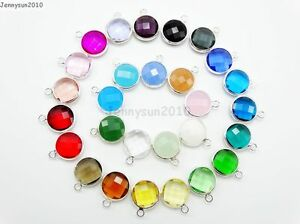10Pcs-Czech-Colorful-Crystal-Channel-Birthstone-Pendant-Charm-Beads-Silver-Set