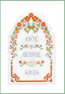 Cross-stitch-Wedding-Greetings-card-with-arch-complete-kit-in-summer-colours