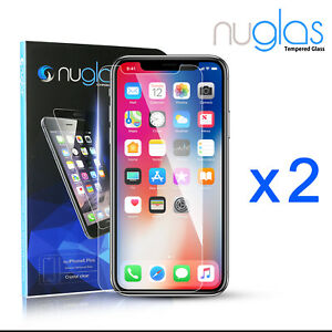 2x-GENUINE-NUGLAS-Tempered-Glass-Screen-Protector-Apple-iPhone-XS-Max-XR-8-Plus