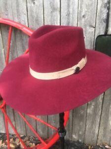 CHARLIE Fedora ~ Highway ~MAROON~ Women's Wool Western Hat - VIVIFY™ - w/feather