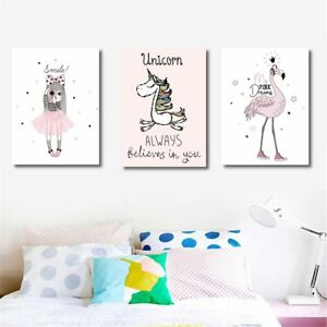 Cartoon Flamingo Unicorn Canvas Art Print Oil Painting Home Baby Rh Ebay Com Pictures For Room