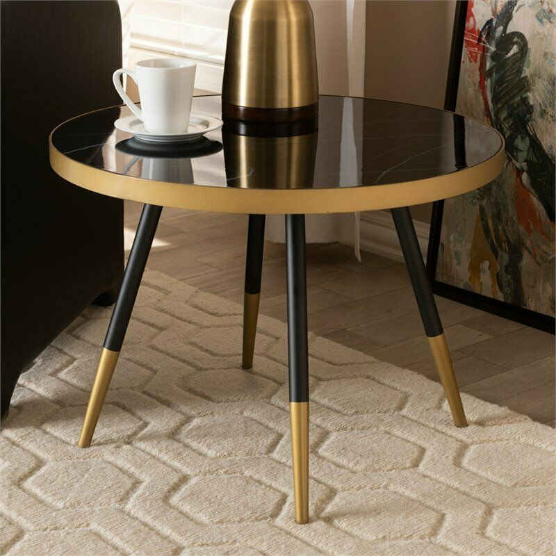 Nuevo Rosa Round Marble Top Coffee Table In Gold And Black For Sale Online Ebay