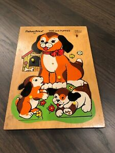 1970-039-s-Fisher-Price-034-Dog-and-Puppies-034-511-8-Piece-Wooden-Puzzle-Ages-2-5