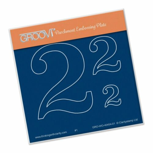 CLARITY STAMP GROOVI BABY A6 Parchment Embossing Plate OPEN NUMBERS 2 GROWO40454