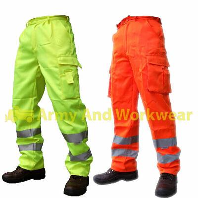 Da Uomo Hi Vis Viz Visibilità Sicurezza Lavoro In Policotone Pants Pantaloni EN471 CLASSE 1