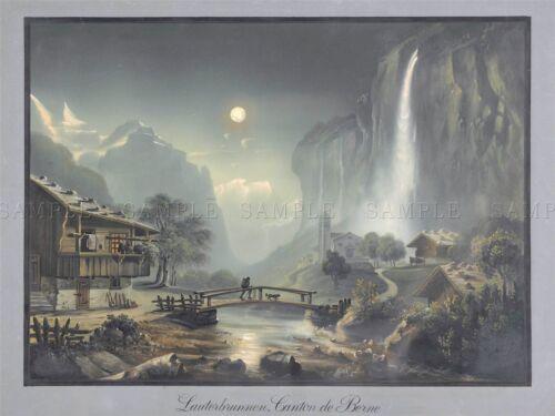 PAINTING TOWN SWITZERLAND LAUTERBRUNNEN CANTON BERNE ART POSTER PRINT LV2935