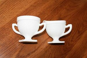 Milk-Glass-Sugar-and-Creamer-Set-small-diamonds-pattern-band-around-top