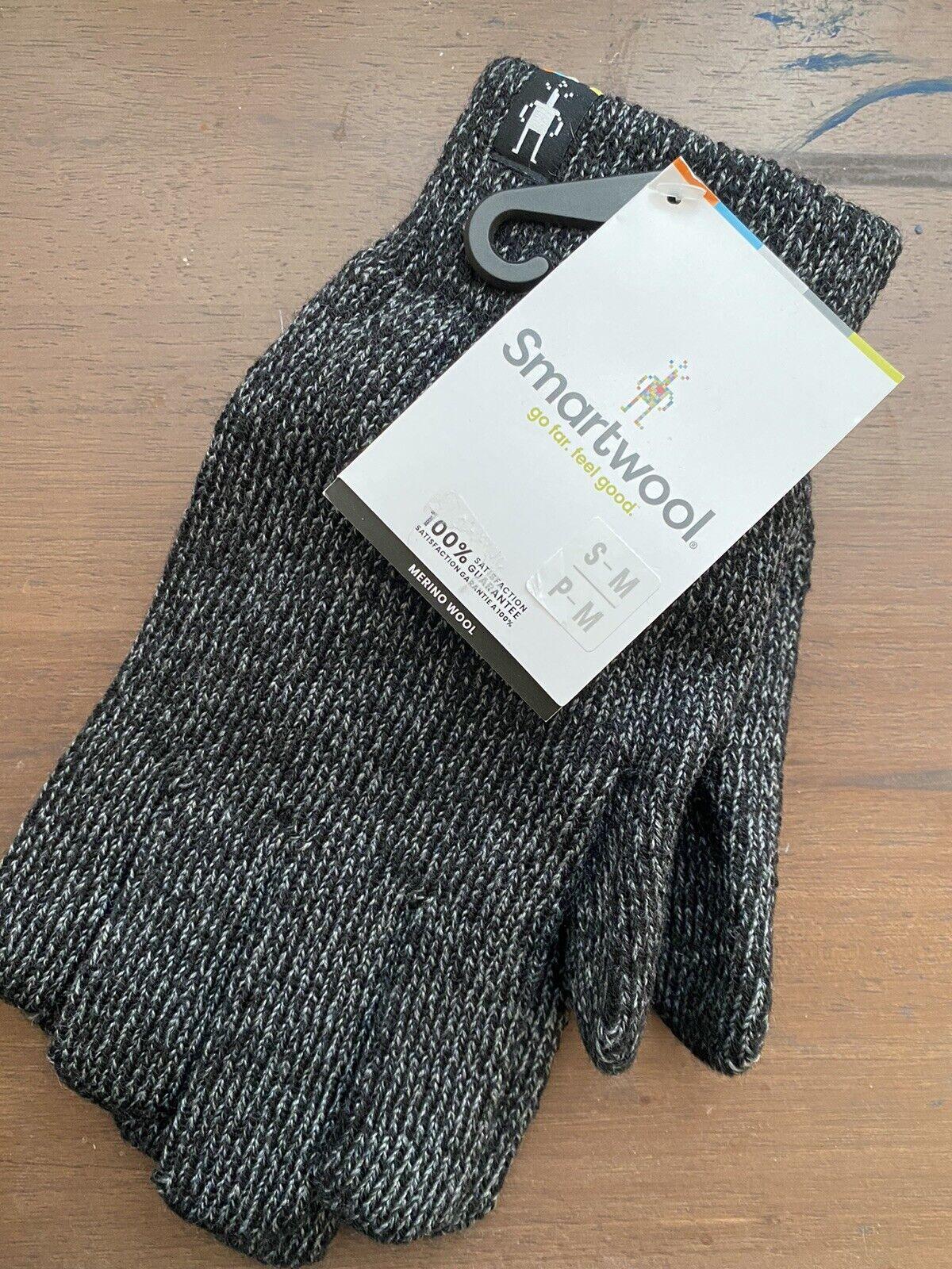 Smartwool Cozy Grip Glove Marino Wool Sz S-M Black, Gray Heather