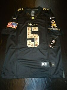 Details about NWT Men's Small Vikings Teddy Bridgewater Black Camo Salute Service Nike Jersey