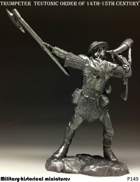 Trumpeter. Teutonic Order, Tin toy soldier 54 mm, figurine, metal sculpture