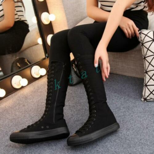 Chic Womens Canvas Boots Lace-up Side Zipper Student Casual Mid-calf Flat Shoes