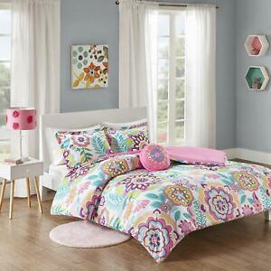 MI-ZONE-Camille-Comforter-Reversible-Solid-Medallion-Flower-Floral-Printed-Ultra