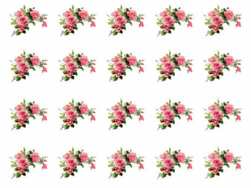 Vintage Image Shabby Victorian Pink Roses Swags Transfers Waterslide Decal FL302