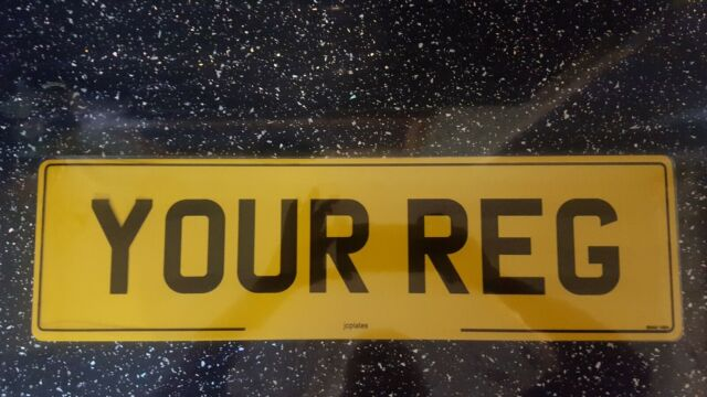 """21x6 INCH 21/""""x6/"""" Oversize BLANK Plain Rear Yellow Range Rover Number Plate 3D 4D"""