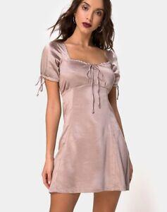 MOTEL-ROCKS-Guenette-Dress-in-Satin-Mink-Size-Small-S-mr31