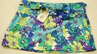 Women's Against The Elements Beach Skirt Size 6 Blue Floral W/tie Belt Msrp $20