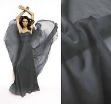 3 Yards  silk chiffon Fabric Cloth 140cm wide Sheer METAL GRAY #90 For Dress