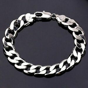 Image Is Loading 23cm 10mm White Gold Plated Silver Chain Bracelet