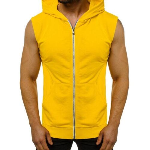 Men Sleeveless Zip Gillet Hoodie Hooded Sweatshirt Light-weight Sport Vest
