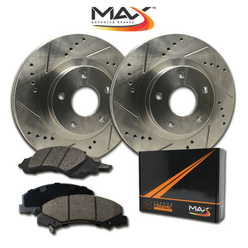 2001 2002 2003 2004 BMW 325xi E46 Slotted Drilled Rotor w//Ceramic Pads F