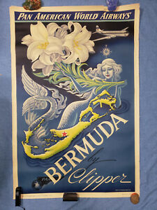 Vtg-Bermuda-by-Clipper-Pan-American-World-Airways-Travel-Poster-42-034-x28-034-MP571