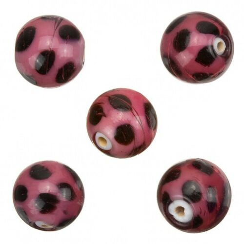 A51//6 Spotty Purple Round Handmade Indian Glass Beads 13mm Pack of 5
