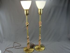 Vintage-PAIR-MCM-Rembrandt-Lamps-Pink-Brass-Swirl-Torchieres-Hollywood-Regency