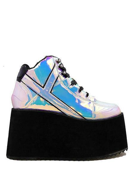 YRU Qozmo Hi 2 Atlantis Holographique Gothique Punk Rave Plate-forme Baskets Chaussures