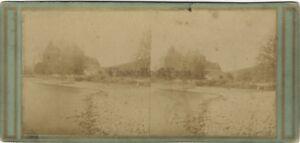 Campagna Vita Rurale Francia Foto Stereo Vintage Albumina Ca 1865