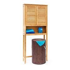 Relaxdays Überschrank LAMELL Bambus Waschmaschine und Badezimmerschrank, natur