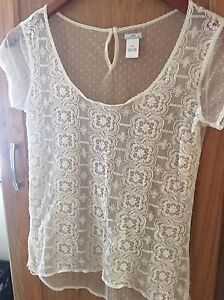 Aerie-Pretty-Luxuries-Lace-Shirt-Top-Blouse-Size-XS-Extra-Small