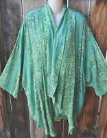 Mission Canyon Art To Wear 51 Short Kimono Duster In Lemongrass, Os+