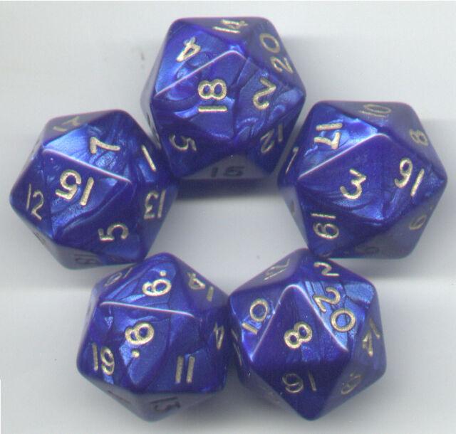 RPG Dice Set of 5 D20 - Pearl Blue